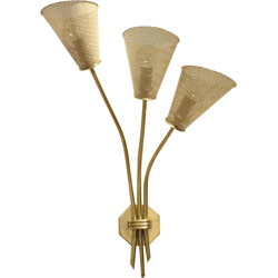 Wall lamp in brass and perforated metal - 1950s