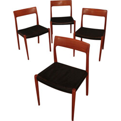Set of 4 teak and leather chairs, Niels MOLLER - 1950s
