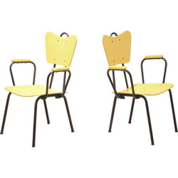 Pair of black and yellow Arteluce armchairs - 1950s