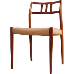 Set of 6 dining chairs in rosewood and tweed, Niels O. MOLLER - 1960s