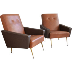 Pair of French bicoloured vinyl armchairs with brass tapered feet - 1960s