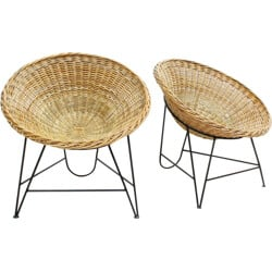 Pair of French lounge chairs in wicker - 1950s