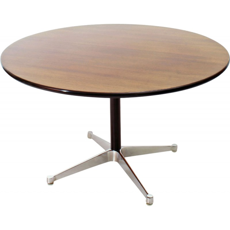 Round Herman Miller Dining Table In Walnut And Aluminum Charles Ray Eames 1960s