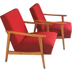 Pair of Czech lounge chairs in beech and red fabric - 1970s