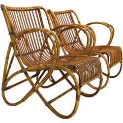 Pair of Rohe Noorwolde lounge chairs in rattan - 1950s