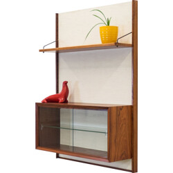 Mid-century wall unit in rosewood and glass - 1950s