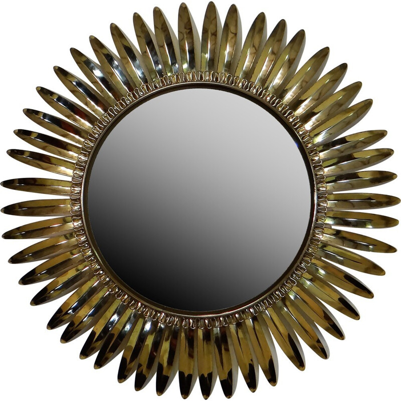 Mid century sun mirror in brass - 1960s