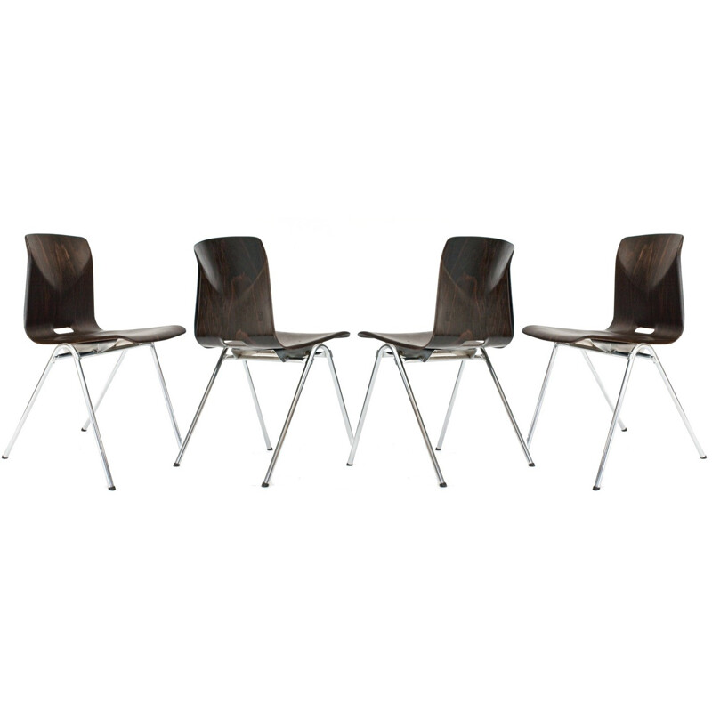 Set of 4 Dutch Galvanitas school chairs model n0.25 - 1960s