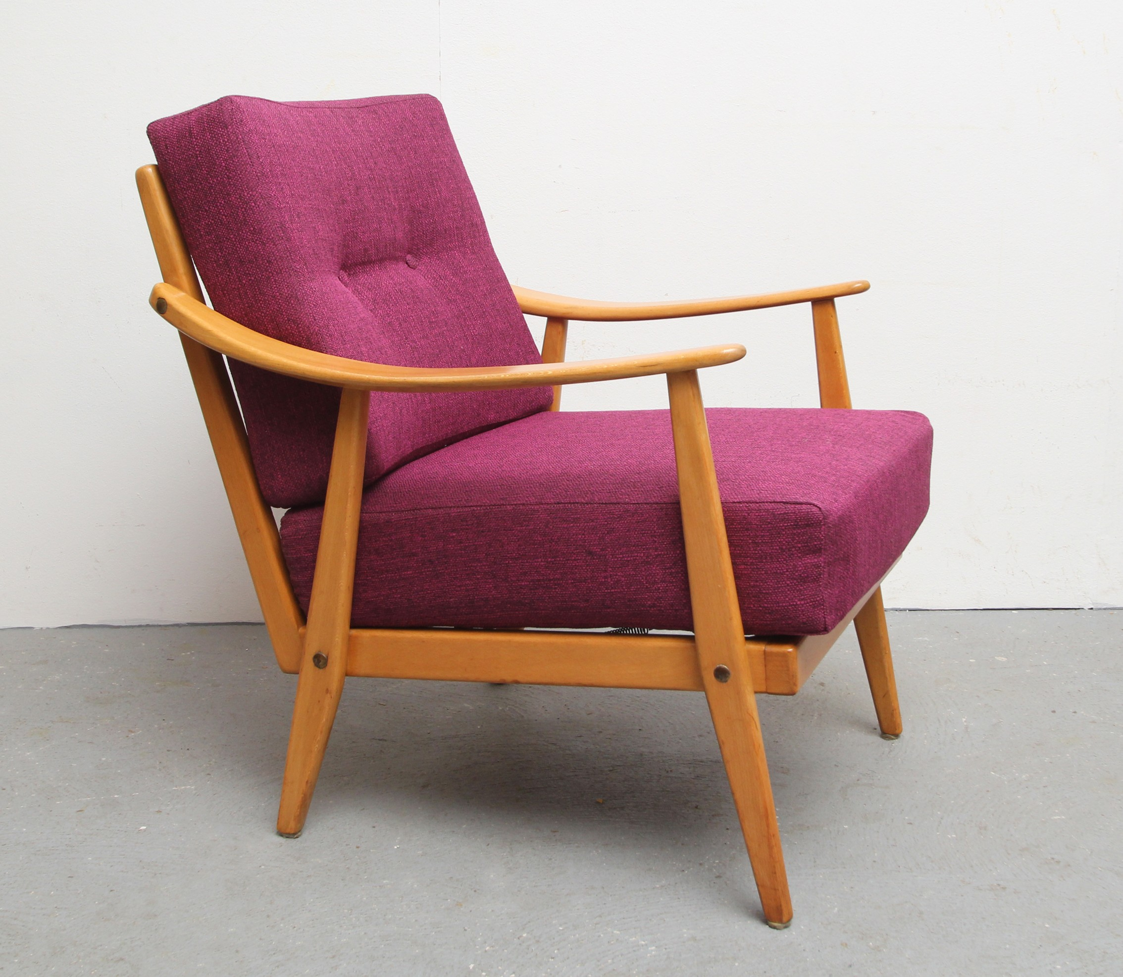 1950s Lounge Armchairs Re Upholstered In Multicolored: Mid Century Reupholstered Armchair In Solid Wood And