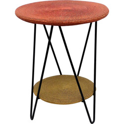 Mid century circular side table in straw and metal - 1950s