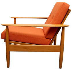 Mid century reupholstered armchair in orange fabric - 1960s