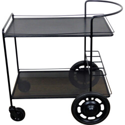 Black perforated steel trolley, Mathieu MATEGOT - 1950s