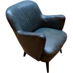 Cocktail leather armchair - 1950s