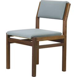 """Set of 4 Pastoe """"SA07"""" chairs in teak and blue green fabric, Cees BRAAKMAN - 1960s"""