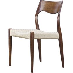 Set of 4 J.L. Møller dining chairs in teak and papercord, Niels Otto MØLLER - 1960s