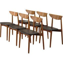Randers set of 6 teak and leatherette chairs, Harry OSTERGAARD - 1950s
