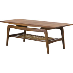 Teak coffee table with magazine rack in rope - 1950s