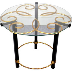 Mid century side table in glass, metal and golden metal - 1950s