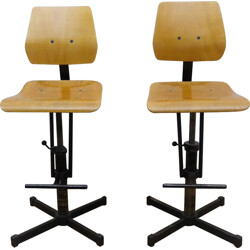 Pair of industrial high chairs in beech and metal - 1960s