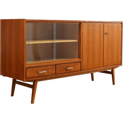 Mid-century sideboard in walnut with glass sliding doors - 1950s