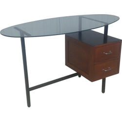 Vintage desk with glass top - 1950s