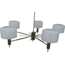 White glass and brass chandelier - 1960s