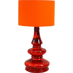 Vintage table lamp in orange and red enamelled ceramic - 1960s