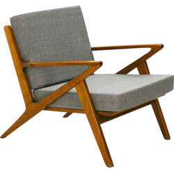 Mid century reupholstered armchair in beech and fabric - 1960s