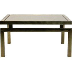 Gold etched glass coffee table - 1970s