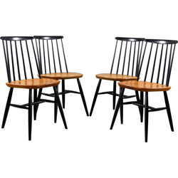 Set of 4 black chairs - 1960s
