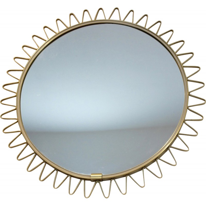 Mid century brass framed Sunburst mirror - 1960s
