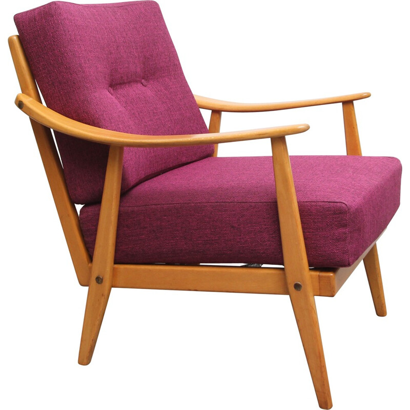 Mid century reupholstered armchair in solid wood and fabric - 1950s