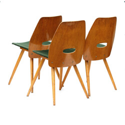 Set of 3 Tatra Nabytok chairs in oak plywood - 1960s