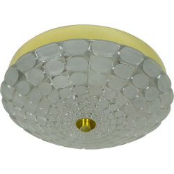 Mid-century ceiling lamp in frosted glass and aluminum - 1960s
