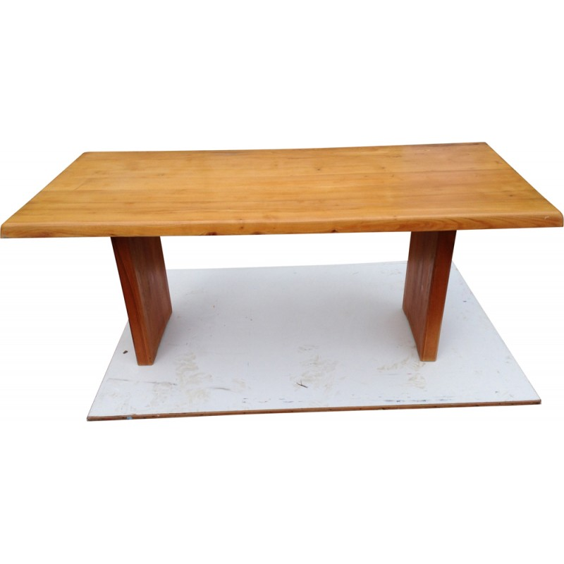 Mid Century Large Table In Solid Elm Wood Pierre Chapo 1960s