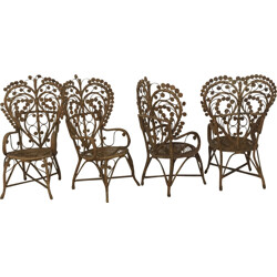 Set of 4 rattan armchairs in love shape - 1930s