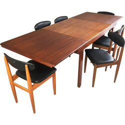 Set of extendable table and 6 chairs in teak and leatherette - 1970s