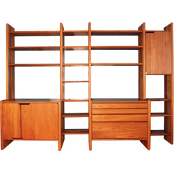 Mid century storage system in solid elm, Pierre CHAPO - 1980s
