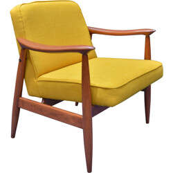 Soviet Varsovie armchair in yellow fabric and oak - 1960s