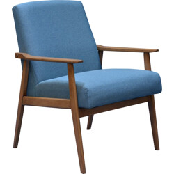 Snieznik armchair in oak and petrol blue fabric - 1960s