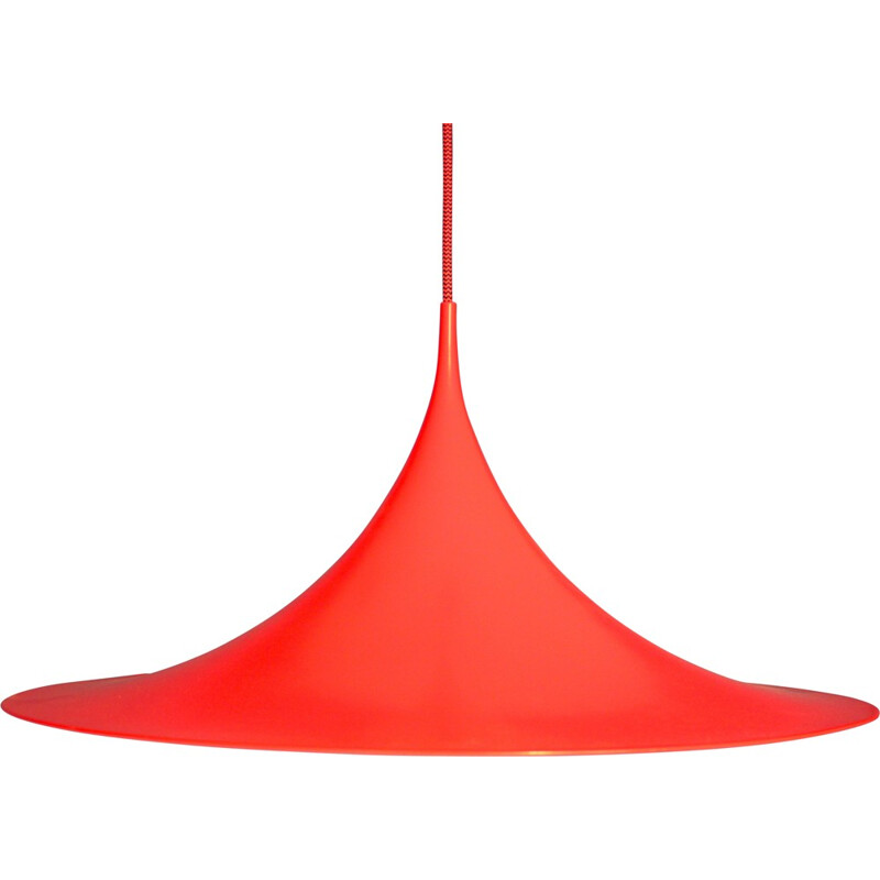 Fog & Mørup pendant in neon orange lacquered metal, Claus BONDERUP & Thorsten THORUP - 1970s