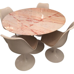 "Knoll ""Tulip"" table in pink marble, Eero SAARINEN - 1970s"