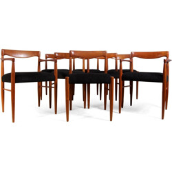 Set of 8 Bramin chairs in teak and black fabric, H. W. KLEIN - 1960s
