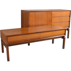 Set of German cabinet and console table in teak - 1970s