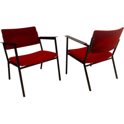 Pair of Pagholz armchairs in metal and red fabric - 1960s