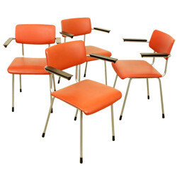 Set of 4 industrial Gispen chairs in orange skai and metal - 1960s