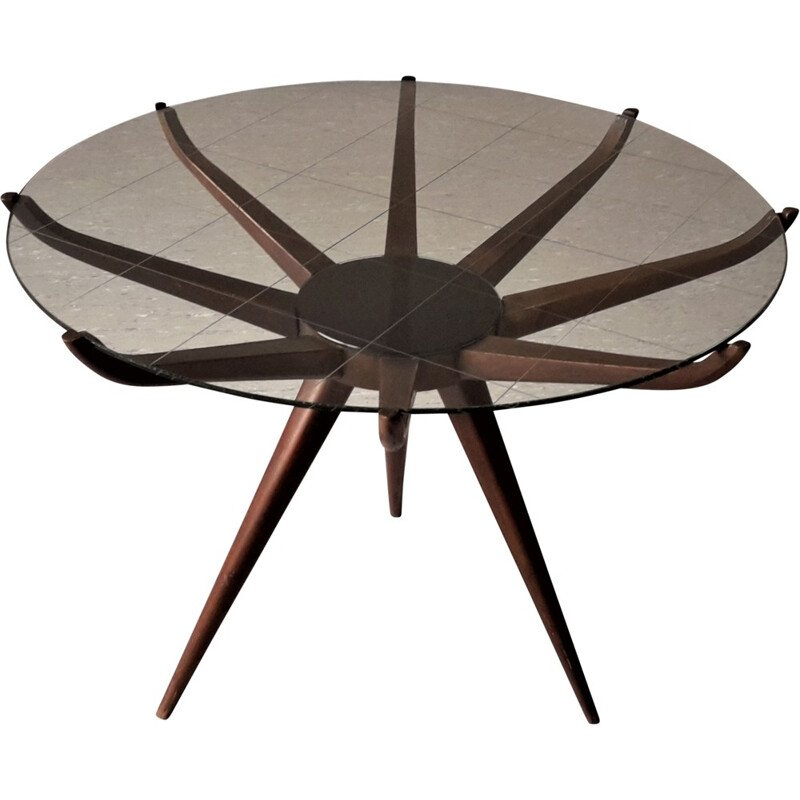 "Italian ""Spiderleg"" coffee table in glass and lacquered wood, Carlo DE CARLI - 1950s"