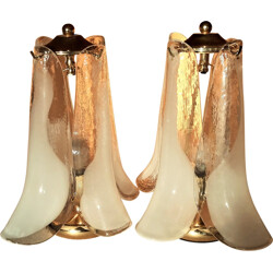 Pair of Italian Mazzega table lamps in Murano glass - 1960s