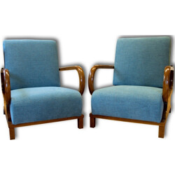 Pair of Czech armchairs in solid beech and blue fabric - 1930s