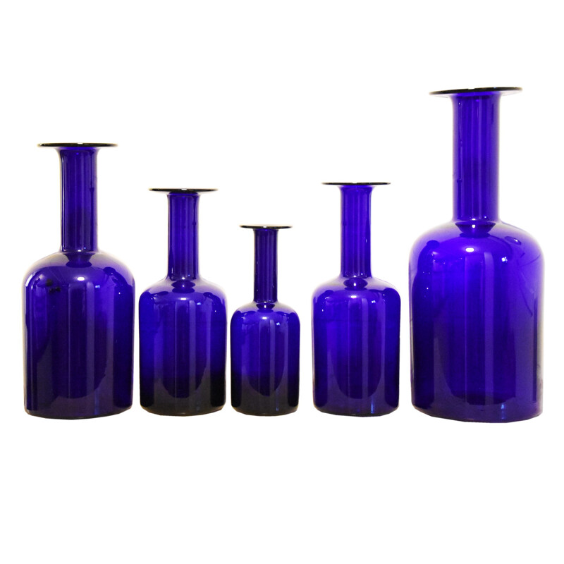 A set of 5 Holmegaard bottles - 1960s